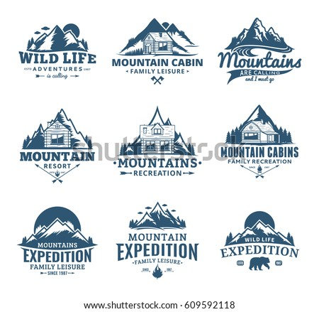 Set of vector mountain and outdoor recreation logo