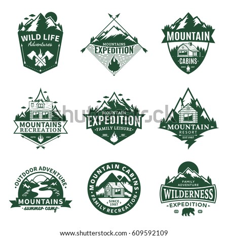 Set of vector mountain and outdoor recreation logo. Mountains and travel icons for tourism organizations, outdoor andventures and camping leisure