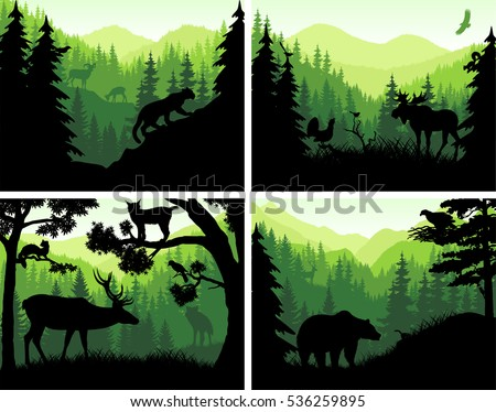 set of vector mountains
