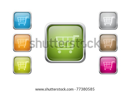 Set of vector multicolored glossy rounded square buttons with basket sign icons