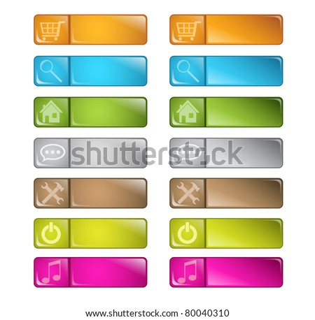 set of vector multicolored glossy rounded square buttons with icons and pushed variants. EPS 10.