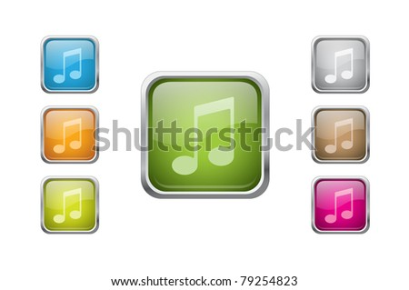Set of vector multicolored glossy rounded square buttons with note sign icons. EPS 10.