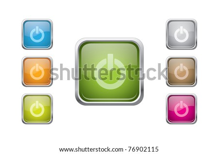 set of vector multicolored glossy rounded square buttons with power sign