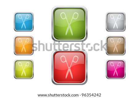 Set of vector multicolored glossy rounded square buttons with scissors sign icons