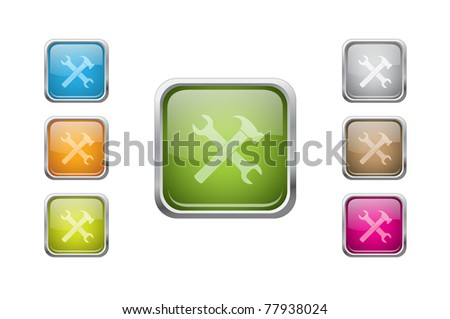 Set of vector multicolored glossy rounded square buttons with tools sign icons.EPS 10.