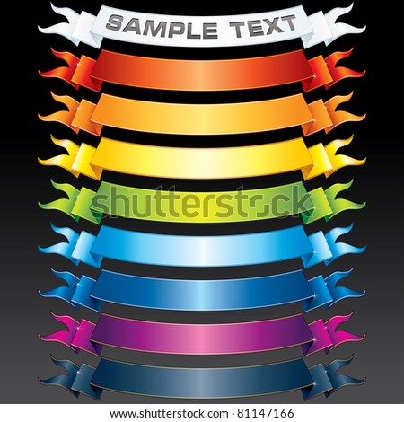 Set of vector Multicolored Ribbons, Banners for your own text or design