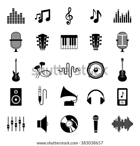 Set of vector music icons for audio store, recording studio label, podcast and radio station