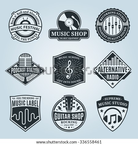 Set of vector music logo. Music studio, festival, radio, school and shop labels