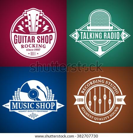 set of vector music logo music