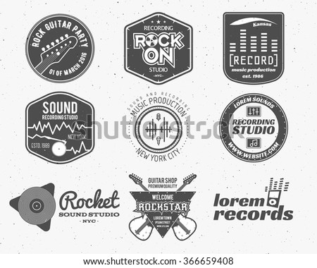 Set of vector music production logo,label, sticker, emblem, print or logotype with elements - guitar, sound recording studio, t shirt,  podcast and radio badges, typography design