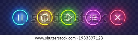 Set of vector neon game buttons. Colored neon buttons. Game button and icon neon. Vector illustration