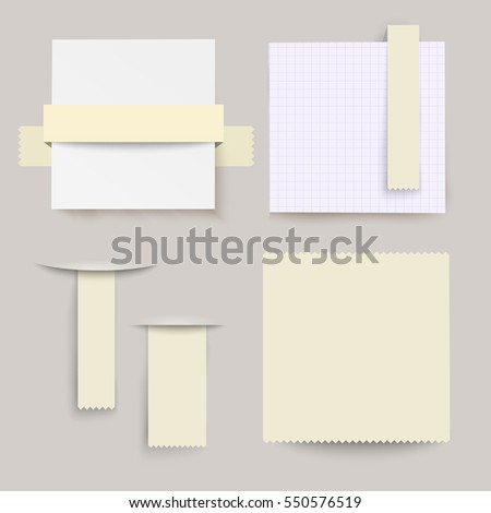 Set of  vector note papers and bookmarks.