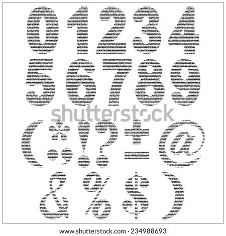 set of vector numerals gray