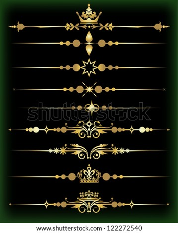 Set of vector of calligraphic design elements: vintage ornaments and dividers baroque objects to decorate the pages