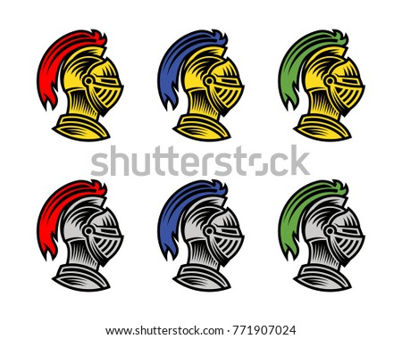 set of vector of knight helmet