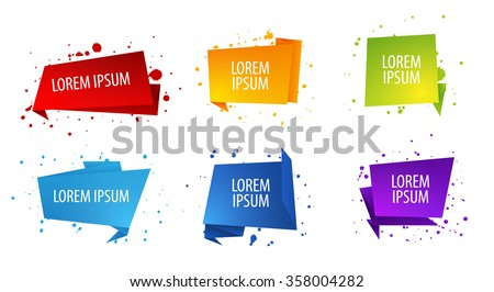 set of vector origami geometric speach or quote bubbles with blot decoration modern message design