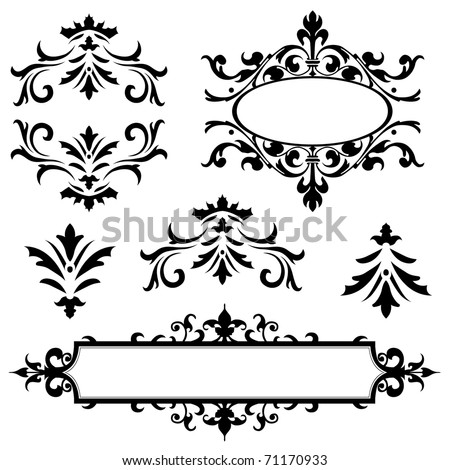 Set of vector ornaments. Perfect for invitations or announcements.