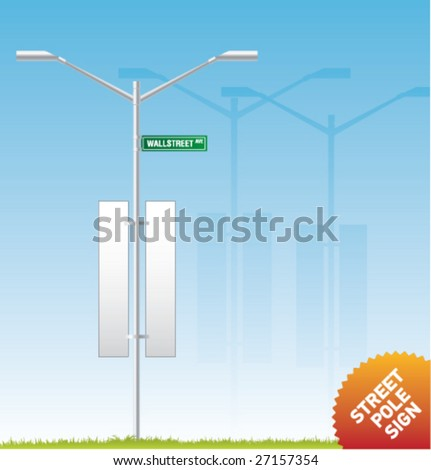 Set of vector outdoor advertising [Street Pole Sign]