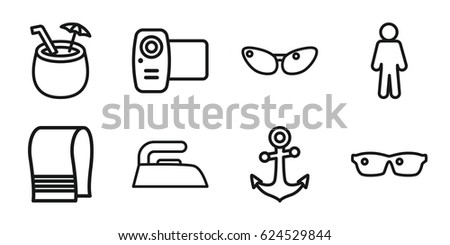 set of 8 vector outline icons