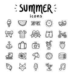 Set of 25 vector outlined summer icons