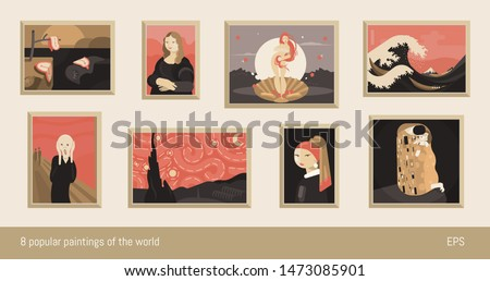 Set of 8 vector paintings, flat minimalism. Inspired by Dali, da Vinci, Botticelli, Hokusai, Munch, Van Gogh, Vermeer and Klimt.