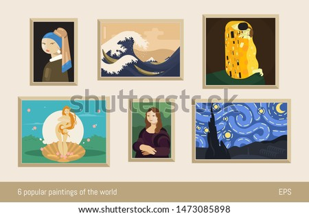 Set of 6 vector paintings, flat minimalism. Inspired by Vermeer, Hokusai, Klimt, Botticelli, da Vinci and Van Gogh.