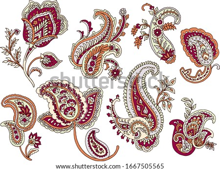Set of Vector Paisley Materials on white background