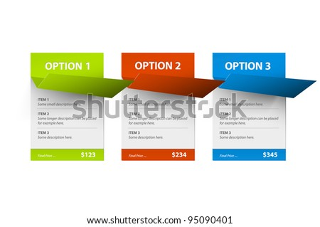 Set of Vector paper cards (template) with origami corner - stock vector