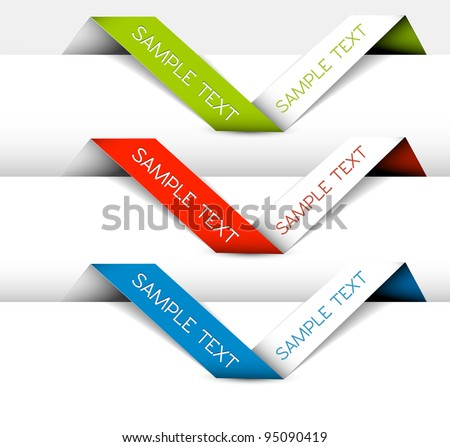 Set of Vector Paper origami ribbon (horizontal green, red and blue)