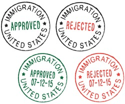 Set of vector passport stamps ''Immigration United States - Approved/Rejected''.