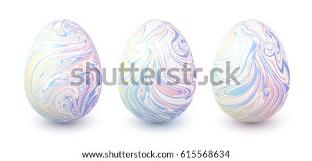 Set of vector pastel colors marbled easter eggs