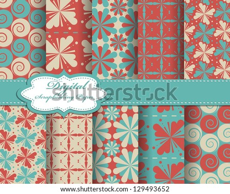 set of vector pattern paper for scrapbook