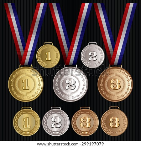 set of vector patterns medals