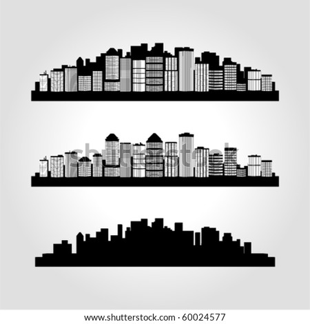 Set of vector perspective buildings silhouette
