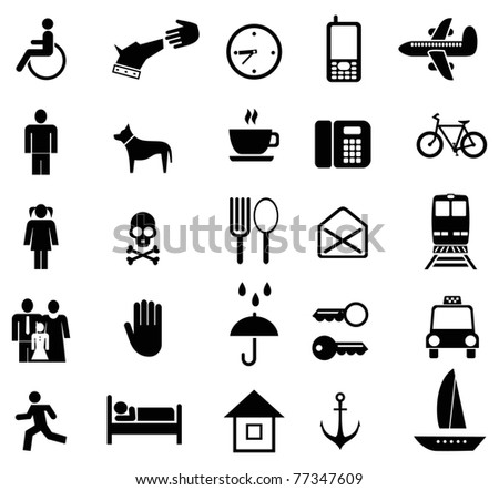 Set of vector pictograms. Black icons on white. Simple pictures of people and objects.