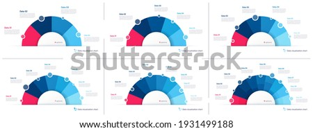 Set of vector pie chart infographic templates in the form of semicircle.