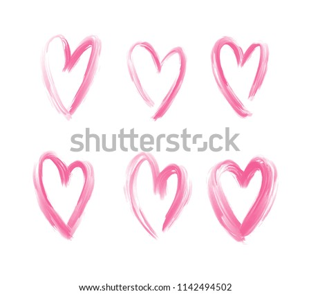 Set of vector pink hearts isolated on white background. Hand drawn hearts painted with brush. Grunge rough brush stroke. Decorative design elements for Valentine's Day.