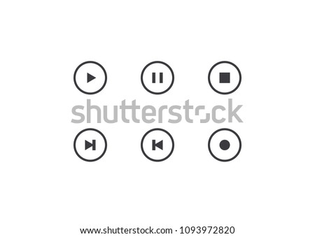 Set of vector player button. Outline element for design mobile app, website or music player. Simple interface button play, pause, stop, record