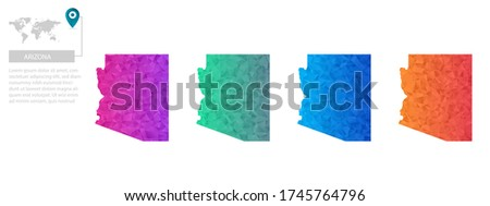 Set of vector polygonal Arizona maps. Bright gradient map of country in low poly style. Multicolored country map in geometric style for your infographics, polygonal design for your ,Vector eps 10.
