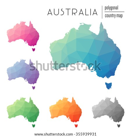 Set of vector polygonal Australia maps. Bright gradient map of country in low poly style. Multicolored country map in geometric style for your infographics