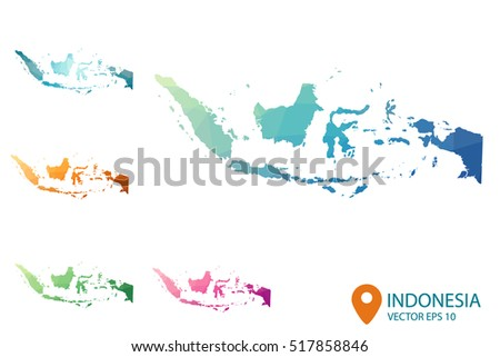 Set of vector polygonal Indonesia maps. Bright gradient map of country in low poly style. Multicolored country map in geometric style for your infographics. Vector illustration eps 10.