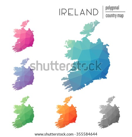 set of vector polygonal ireland