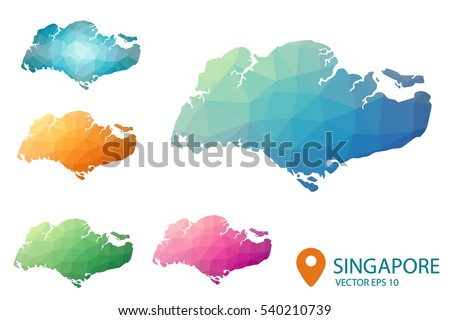Set of vector polygonal Singapore maps.  Multicolored country map in geometric style for your infographics. Vector illustration eps 10.