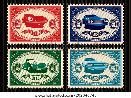 set of vector postage stamps with cars