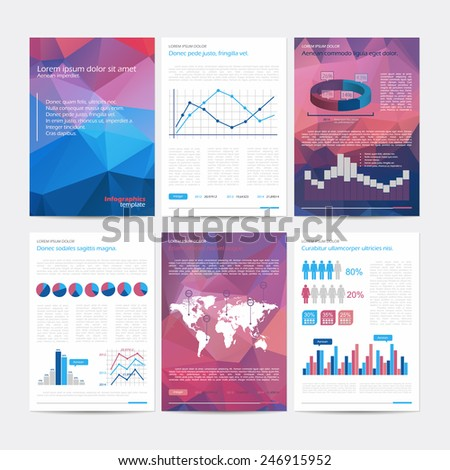 Set of vector poster infographic templates with polygonal background Abstract background for business documents flyers posters and placards with infographics