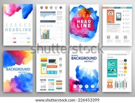 Set of Vector Poster Templates with Watercolor Paint Splash Abstract Background for Business Documents Flyers Posters and Placards