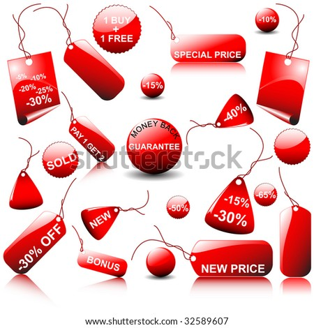 set of vector price tags - you can use it for any sale time or seasons