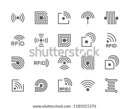Set of vector Radio-frequency identification and RFID chip line icons. Antenna, circuit, semiconductor, computer, tag, wire, wireless and more.