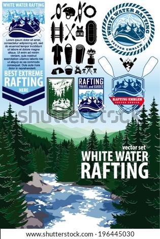 set of vector rafting emblems