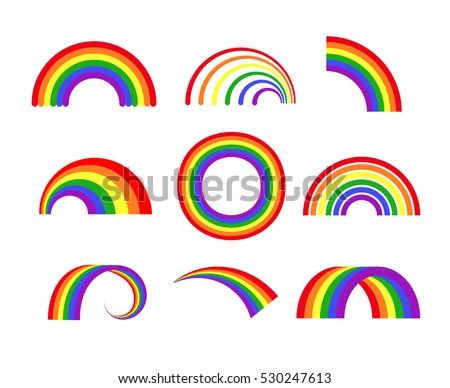 stock-vector-set-of-vector-rainbows-white-background